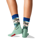 Womens Hokusais Mt. Fuji Over a Lake Socks in Dark Blue Front