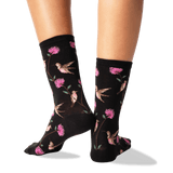 Women's Hummingbirds Crew Socks in Black Front thumbnail
