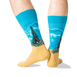 Men's Van Gogh's Wheat Field with Cypresses Socks in Teal Front