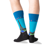 Men's Paris Crew Socks in Teal Front thumbnail