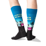 Men's South Beach Crew Socks in Teal Front thumbnail