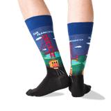 Men's Golden Gate Bridge Socks in Dark Blue Front thumbnail