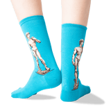 Womens Michelangelos David Socks in Teal Front thumbnail