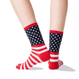 Women's American Flag Crew Socks in Red Front thumbnail