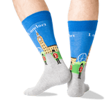 Men's London Crew Socks in Blue Front