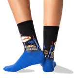 Women's Las Vegas Crew Socks in Black Front