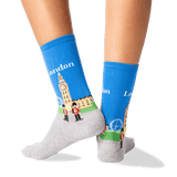 Womens London Crew Socks in Royal Blue Front