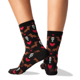 Women's Dogs And Milkshake Socks in Black Front thumbnail