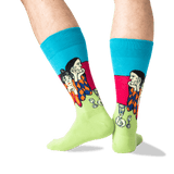 Men's Picasso's Two Acrobats Socks in Teal Front
