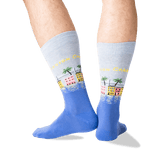 Men's Charleston Crew Socks in Blue Heather Front thumbnail