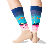 Men's Hawaii Crew Socks in Dark Blue Front thumbnail