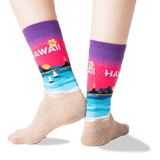 Women's Hawaii Crew Socks in Purple Front