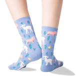 Women's Piglet, Lamb and Chick Socks in Coastal Blue Front