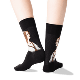 Women's Portrait of a Young Woman Socks in Black Front