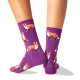 Women's Foxes Crew Socks in Purple Front thumbnail