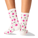 Women's Cherries Crew Socks in Natural Melange Front thumbnail
