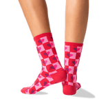 Women's Half Hearts Crew Socks in Red Front thumbnail