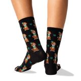 Women's St. Patricks Day Dog Socks in Black Front thumbnail