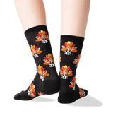 Women's Turkey Dog Crew Socks in Black Front
