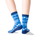 Women's Happy Hanukkah Non Skid Crew Socks in Blue Front