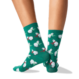 Women's Polar Bears Crew Socks in Forest Green Front thumbnail