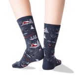 Women's Christmas Scene Crew Socks in Denim Front