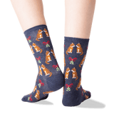 Women's Mistletoe Cat Crew Socks in Denim Front