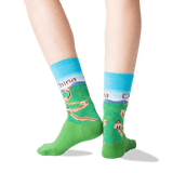 Women's China Crew Socks in Light Blue Front