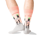 Men's New Orleans Crew Socks in Peach Front