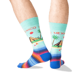 Men's Mexico Crew Socks in Mint Front