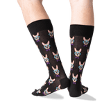 Men's Smart Frenchie Crew Socks in Black Front