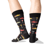 Men's Pickup Trucks Crew Socks in Black Front thumbnail
