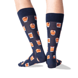 Men's Old Fashioned Crew Socks in Navy Front