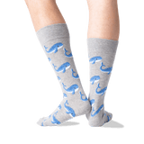 Men's Whale Crew Socks in Gray Heather Front thumbnail