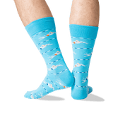 Men's Swimmers Crew Socks in Light Blue Front