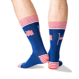 Men's American Flag Crew Socks in Dark Blue Front