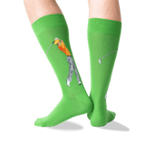 Men's Golfer Crew Socks in Green Front