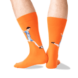 Men's Soccer Player Crew Socks in Orange Front thumbnail