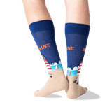 Men's Maine Crew Socks in Dark Blue Front