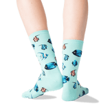 Women's Tropical Fish Crew Socks in Jade Front thumbnail