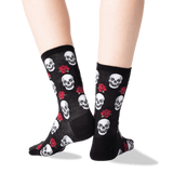 Women's Skull and Roses Socks in Black Front
