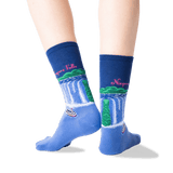 Women's Niagara Falls Crew Socks in Dark Blue Front