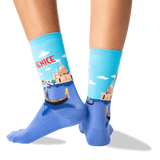 Women's Venice Crew Socks in Light Blue Front thumbnail
