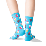 Women's Cupcakes Crew Socks in Light Blue Front