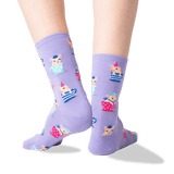 Women's Teacup Pigs Crew Socks in Lavender Front thumbnail