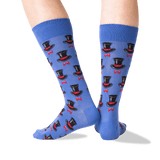 Men's Top Hat and Bow Tie Socks in Blue Front