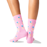 Women's Engagement Ring Crew Socks in Petal Pink Front