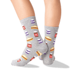 Kid's Peanut Butter and Jelly Socks in Sweatshirt Gray Front