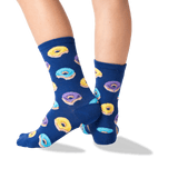 Kid's Donut Crew Socks in Dark Blue Front thumbnail