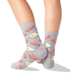 Kid's Eggs and Bacon Socks in Sweatshirt Gray Front